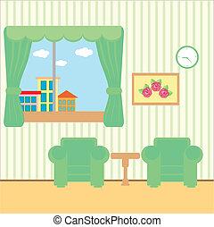 aardig, kamer, met, een, venster