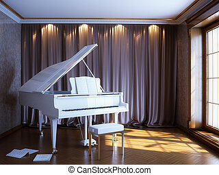 aardig, kamer, om te spelen, de, piano