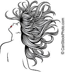 aardig, meisje, mijn, fantasie, haren