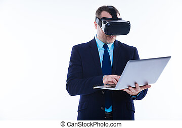 aardig, mooi, man, vasthouden, een, draagbare computer