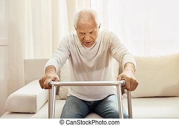 aardig, oudere man, gebruik, een, walker