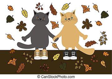 aardig, paar, herfst, kat