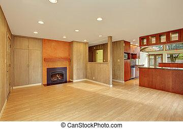 aardig, woonkamer, met, loofhout, floor.