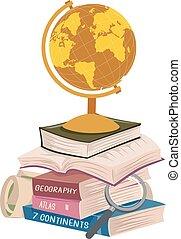aardrijkskunde, boekjes , stapel, lang, lezende , illustratie