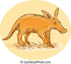 Aardvark African Ant Bear Drawing - Drawing sketch style...