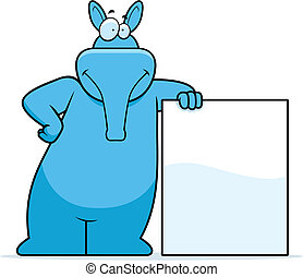 Aardvark Leaning - A happy cartoon aardvark leaning on a...