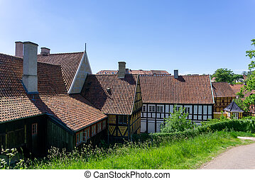 historic half-timbered houses in the old town center of Aarhus
