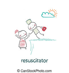 abîme, patient, tenue, resuscitator, main