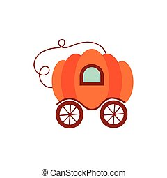 abóbora, ícone, fairytale, objeto, isolado, carruagem