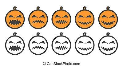 abóbora, emoji, dia das bruxas, ícones
