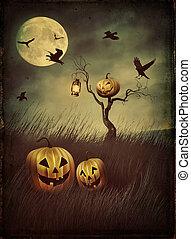 abóbora, espantalho, em, campos, à noite, com, vindima, olhar