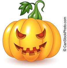 abóbora halloween, isolado, caricatura