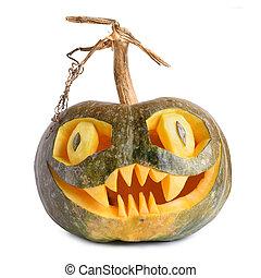 abóbora halloween, isolado, esculpido