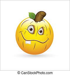 abóbora, smiley, expressão, ícone