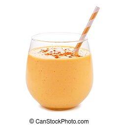 abóbora, smoothie, com, coco, isolado, branco