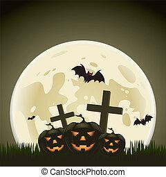 abóboras, dia das bruxas, costas, fundo, lua