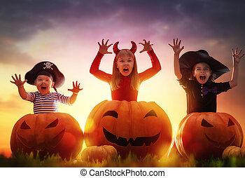 abóboras, dia das bruxas, crianças