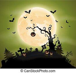 abóboras, dia das bruxas, fundo