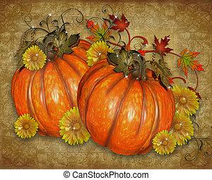 abóboras, rústico, outono, fundo