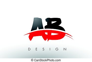 AB A B Brush Logo Letters with Red and Black Swoosh Brush ...