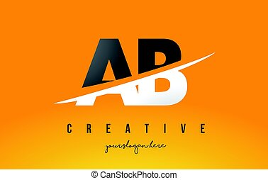 AB A B Letter Modern Logo Design with Yellow Background and ...