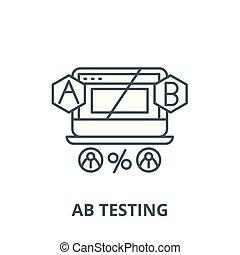 ab, contour, concept, essai, signe, vecteur, icône, ligne, linéaire