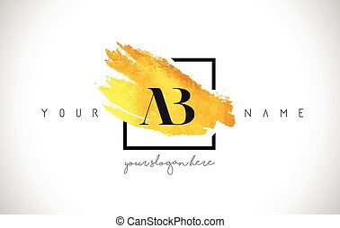 AB Golden Letter Logo Design with Creative Gold Brush Stroke...