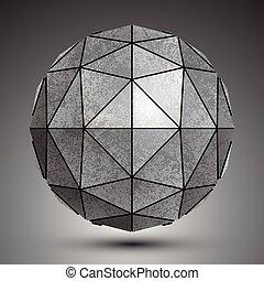 ab, grunge, stworzony, grayscale, kula, triangle, galwanizowany, 3d