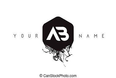 AB Letter Logo Design with Black Ink Spill - AB Black Ink...
