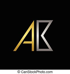 Golden A and silver B letters logo template for your business company