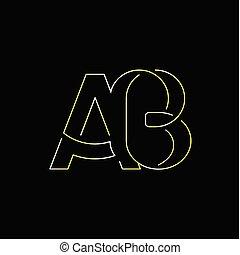 ab, początkowy, wektor, litera, logo, kreska