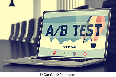 A/B Test Concept on Laptop Screen. - Laptop Display with A/B...