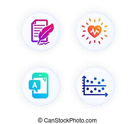 Ab testing, Heartbeat and Feather signature icons set. Dot plot sign. Phone test, Medical heart, Feedback. Vector