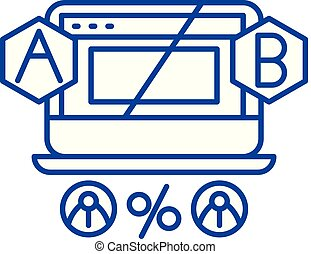 Ab testing line icon concept. Ab testing flat vector symbol, sign, outline illustration.