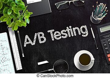 AB Testing on Black Chalkboard. 3D Rendering. - Top View of...