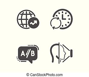 Ab testing, World statistics and Update time icons. Face id sign. Test chat, Global report, Refresh clock. Vector