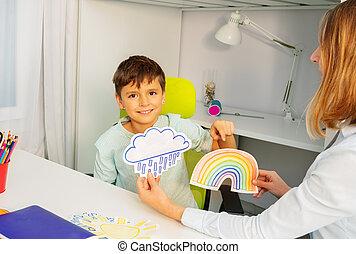 aba, thérapie, autistic, pendant, cartes, garçon, temps