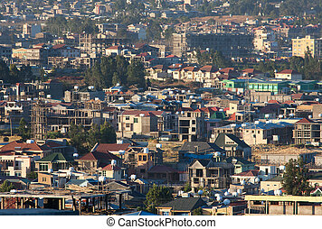 ababa, etiópia, ruas, addis