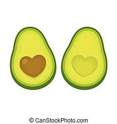 abacate, amor, ilustração