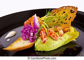 abacate, tureen, com, marisco, e, tomate, pasta