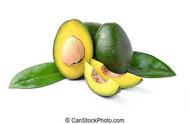 abacates, ligado, um, fundo branco