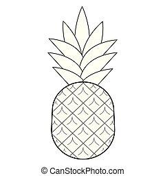 abacaxi, vetorial, ilustração, white., pretas, completo