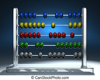 Abacus 3 - Metal colorful abacus - 3d render