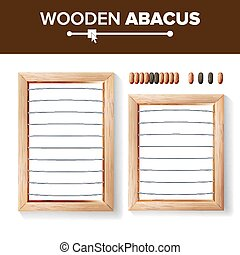 Abacus Blank. Vector Template Illustration Of Classic Wooden Abacus. Shop Arithmetic Tool Equipment. Calculating Concept. Isolated