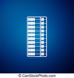 Abacus icon isolated on blue background. Traditional counting frame. Education sign. Mathematics school. Flat design. Vector Illustration
