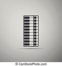 Abacus icon isolated on grey background. Traditional counting frame. Education sign. Mathematics school. Flat design. Vector Illustration