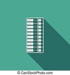 Abacus icon isolated with long shadow. Traditional counting frame. Education sign. Mathematics school. Flat design. Vector Illustration