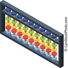Abacus icon, isometric style