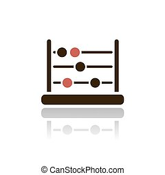 Abacus icon with reflection on a white background
