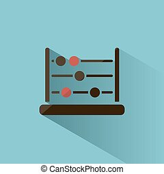 Abacus icon with shadow on blue background
